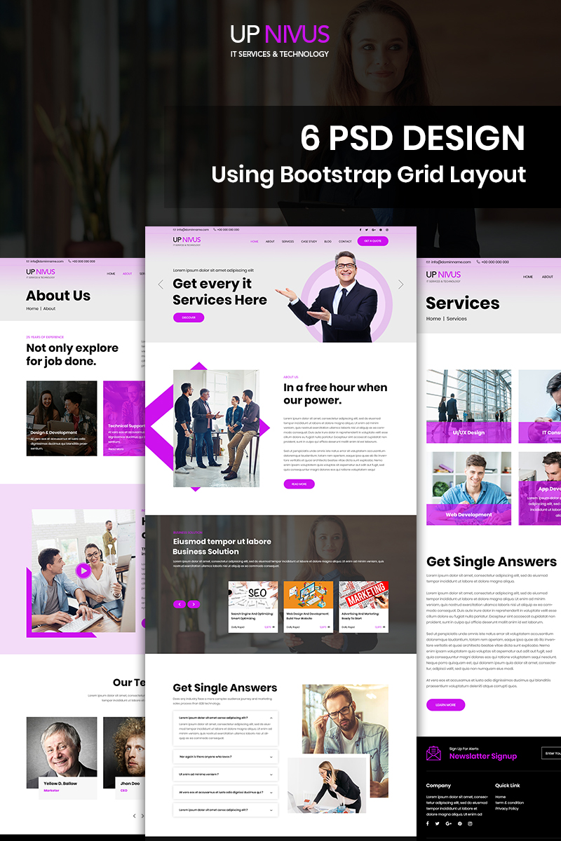 """Up Nivus - IT Company"" Bootstrap PSD Template №91071"