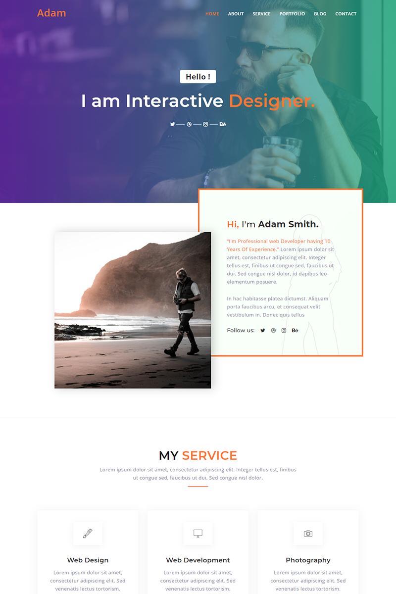 Adam Personal Portfolio Templates de Landing Page №91156 - captura de tela