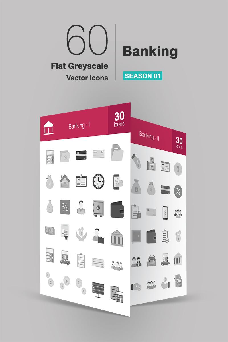 60 Banking Flat Greyscale Ikon csomag sablon 91189