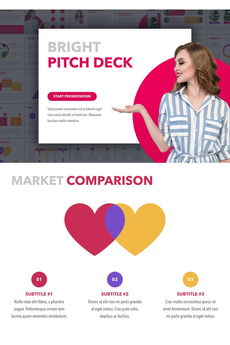 """""""Bright Pitch Deck"""" PowerPoint Template №91181"""