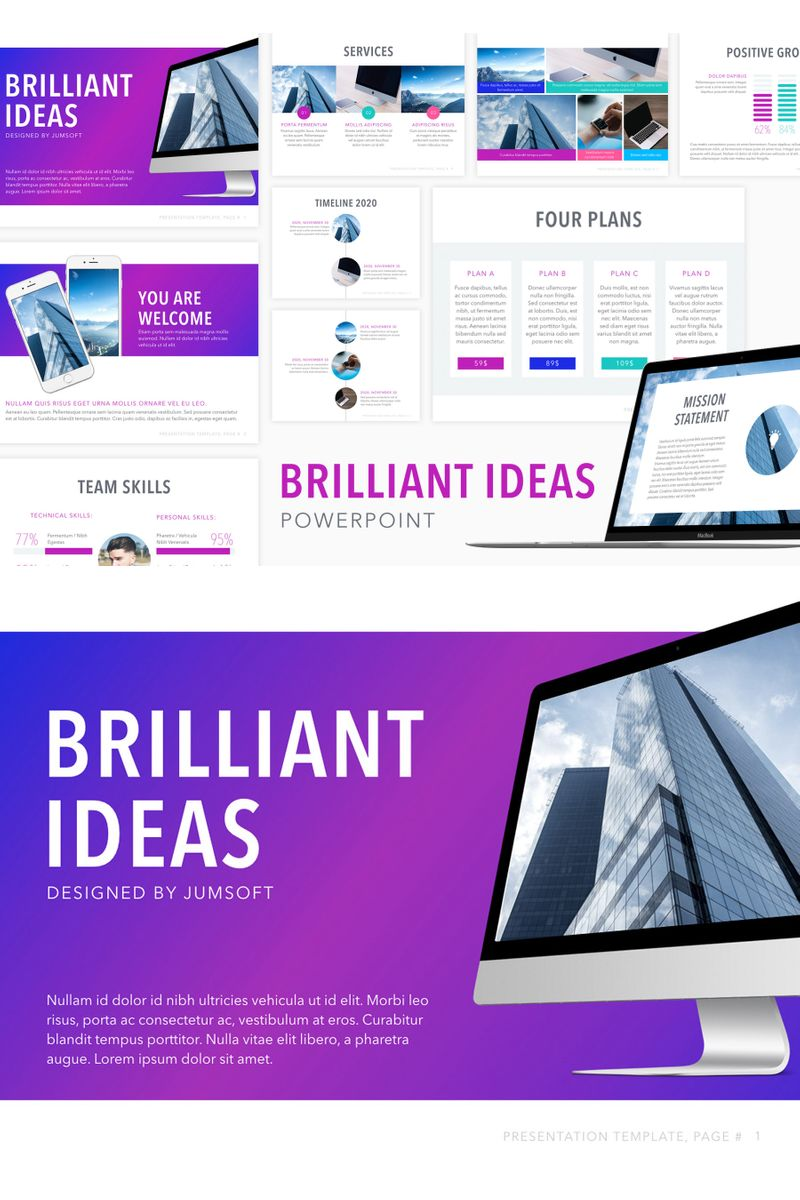 """Brilliant Ideas"" PowerPoint Template №91180"