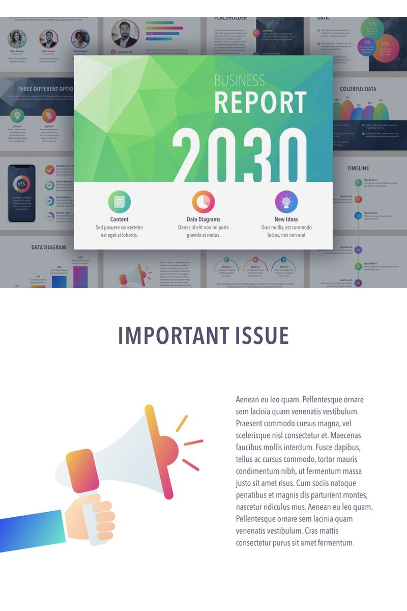 """Business Report Colorite"" PowerPoint Template №91178"
