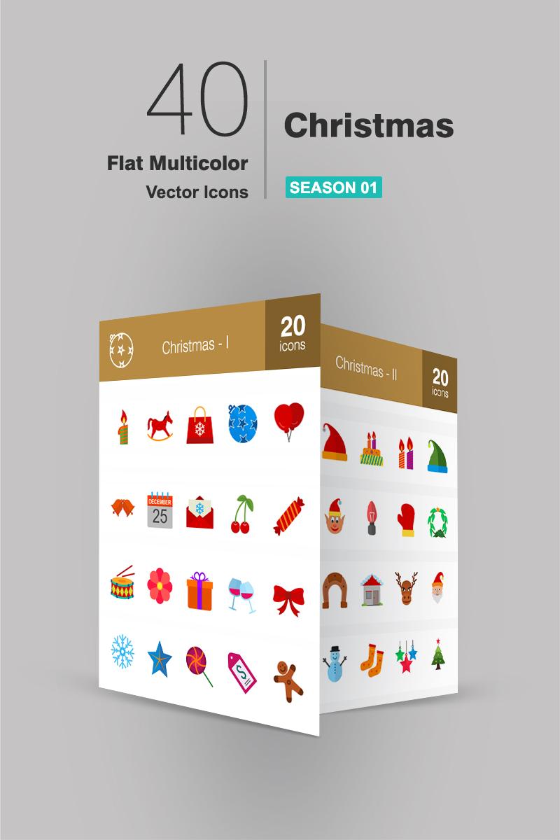 40 Christmas Flat Multicolor Ikon csomag sablon 91190