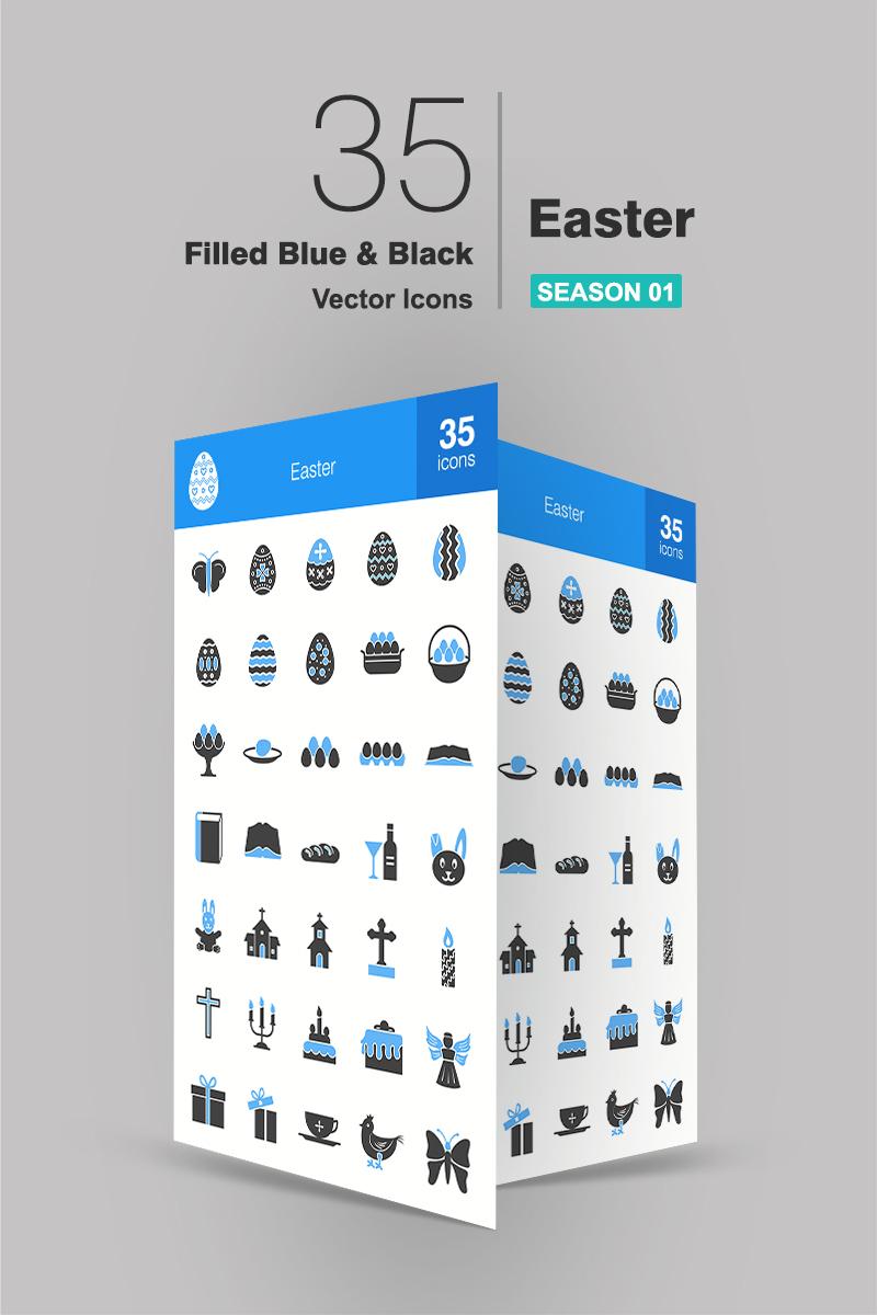 35 Easter Filled Blue & Black Ikon csomag sablon 91192