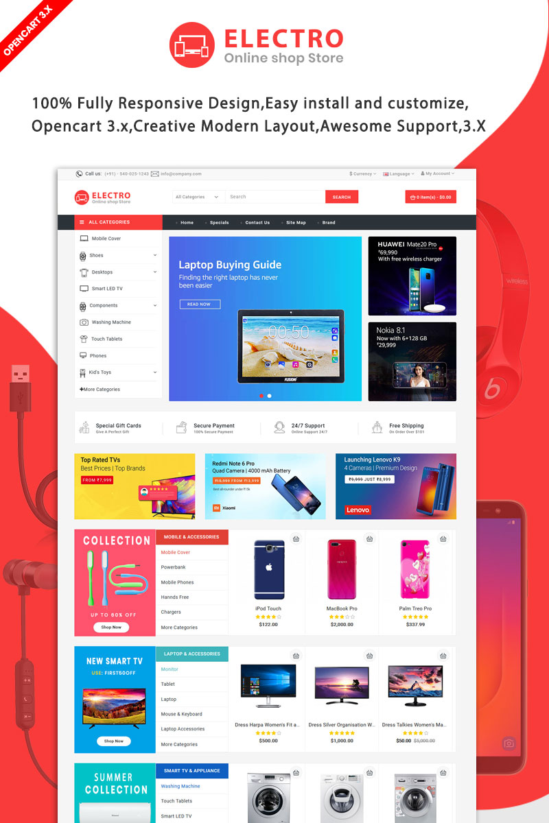 """Electro The Best Electronics"" Responsive OpenCart Template №91114"