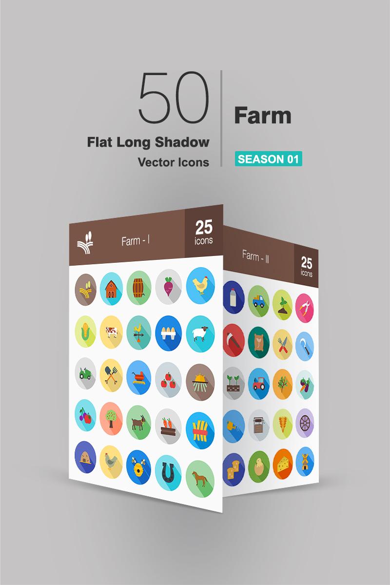 """50 Farm Flat Long Shadow"" ensemble d'Icônes  #91159"