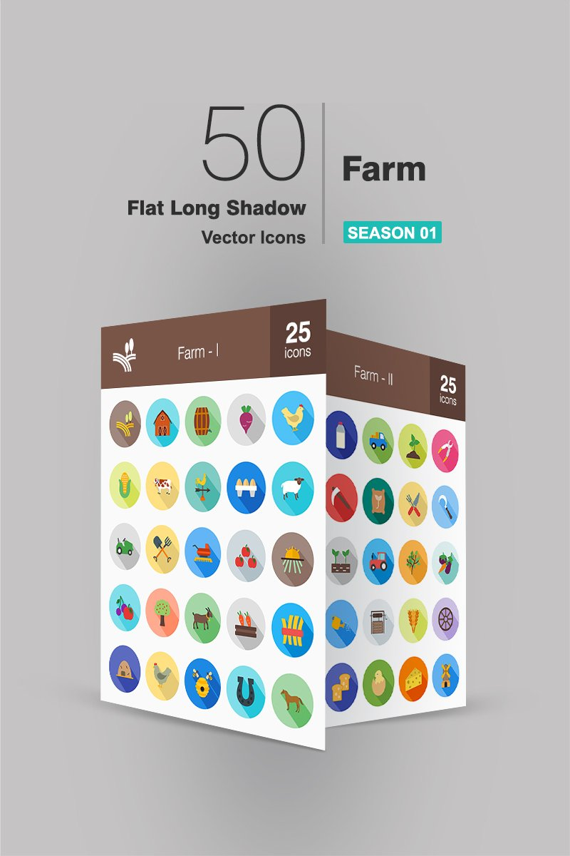 "Icon-Sammlungen Vorlage namens ""50 Farm Flat Long Shadow"" #91159 - Screenshot"