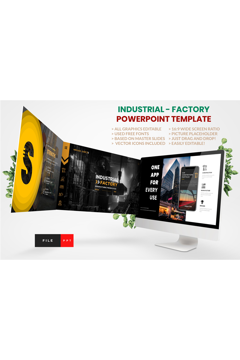 """Industrial - Factory"" modèle PowerPoint  #91170"