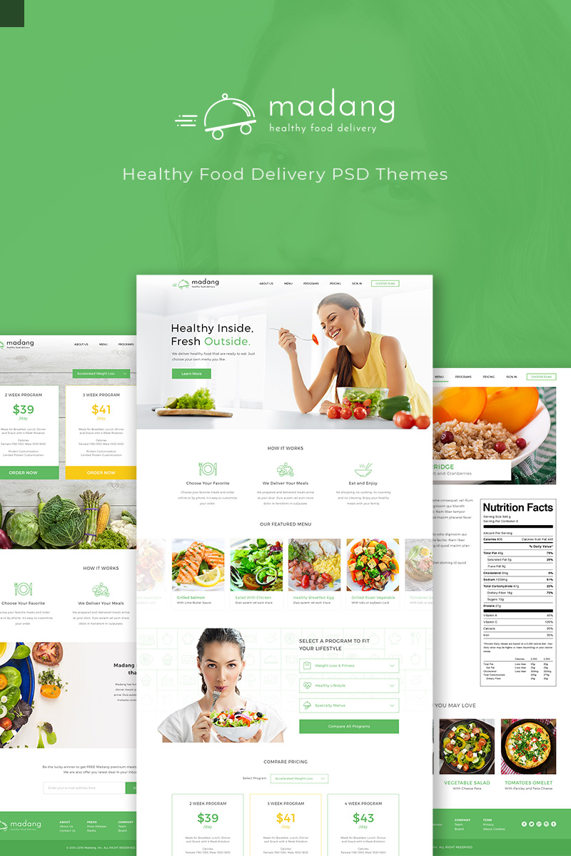 Madang - Healthy Food Delivery Template Photoshop №91113