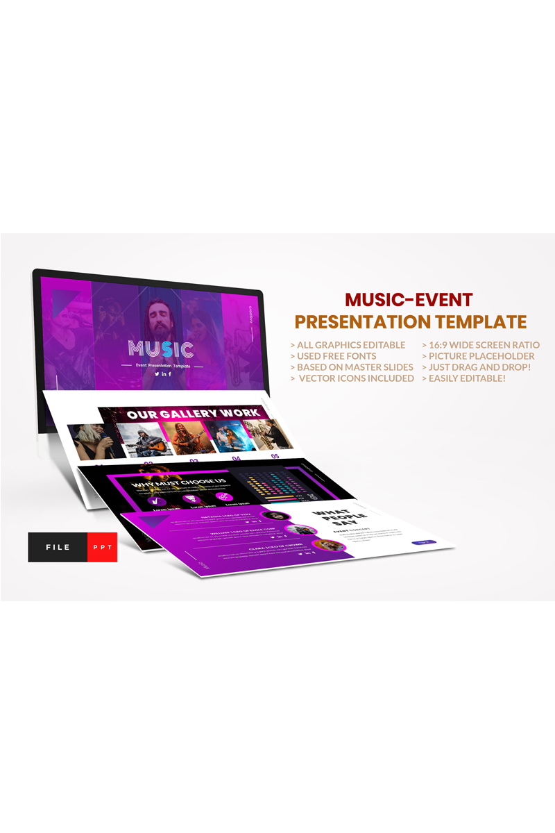 """Music-Event"" - PowerPoint шаблон №91116"