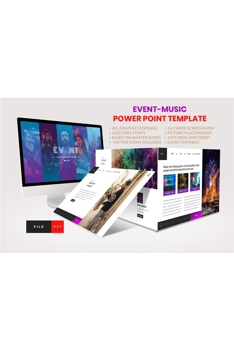 "Plantilla PowerPoint ""Event-Music"" #91173"