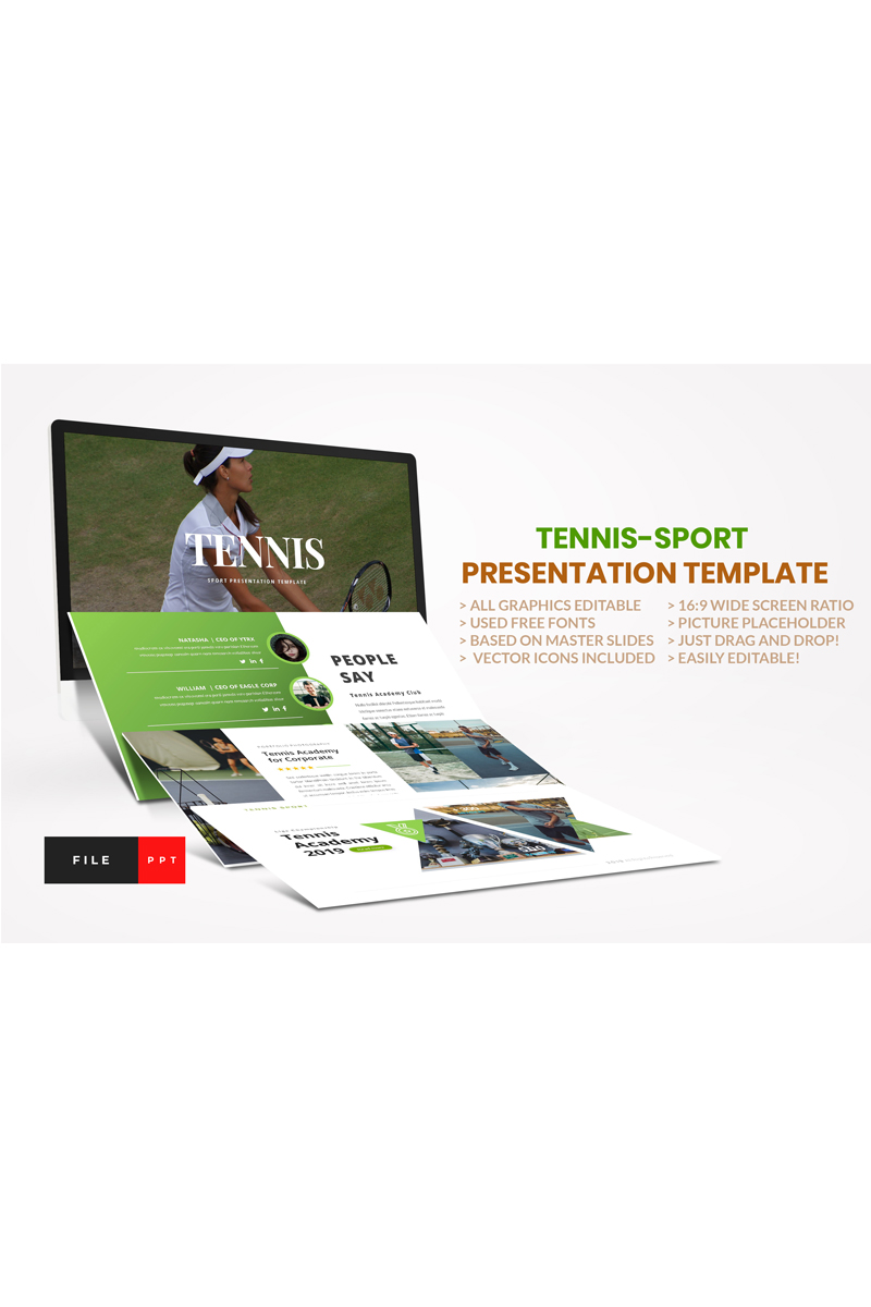 "Plantilla PowerPoint ""Tennis-Sport"" #91119"