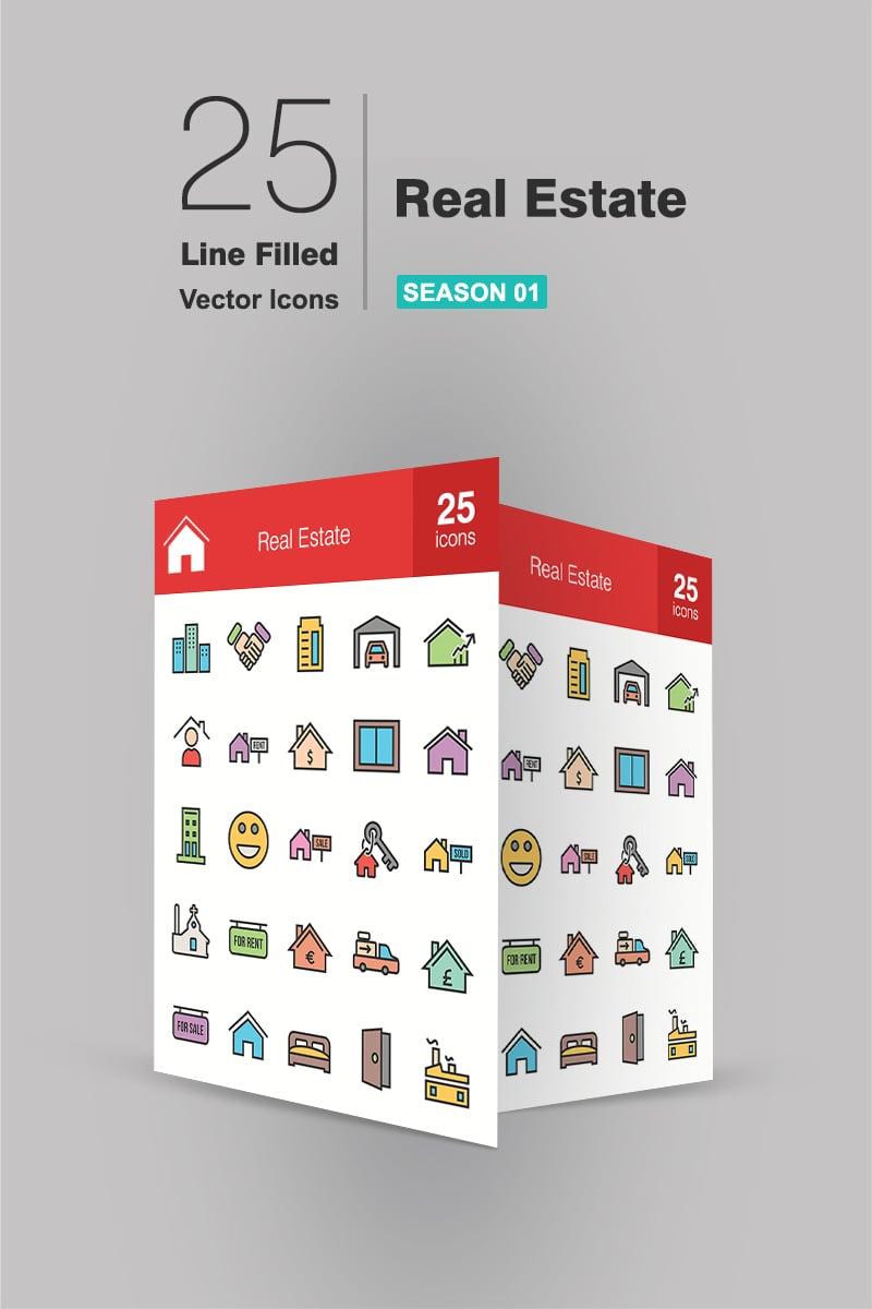 26 Real Estate Filled Line Ikon csomag sablon 91187