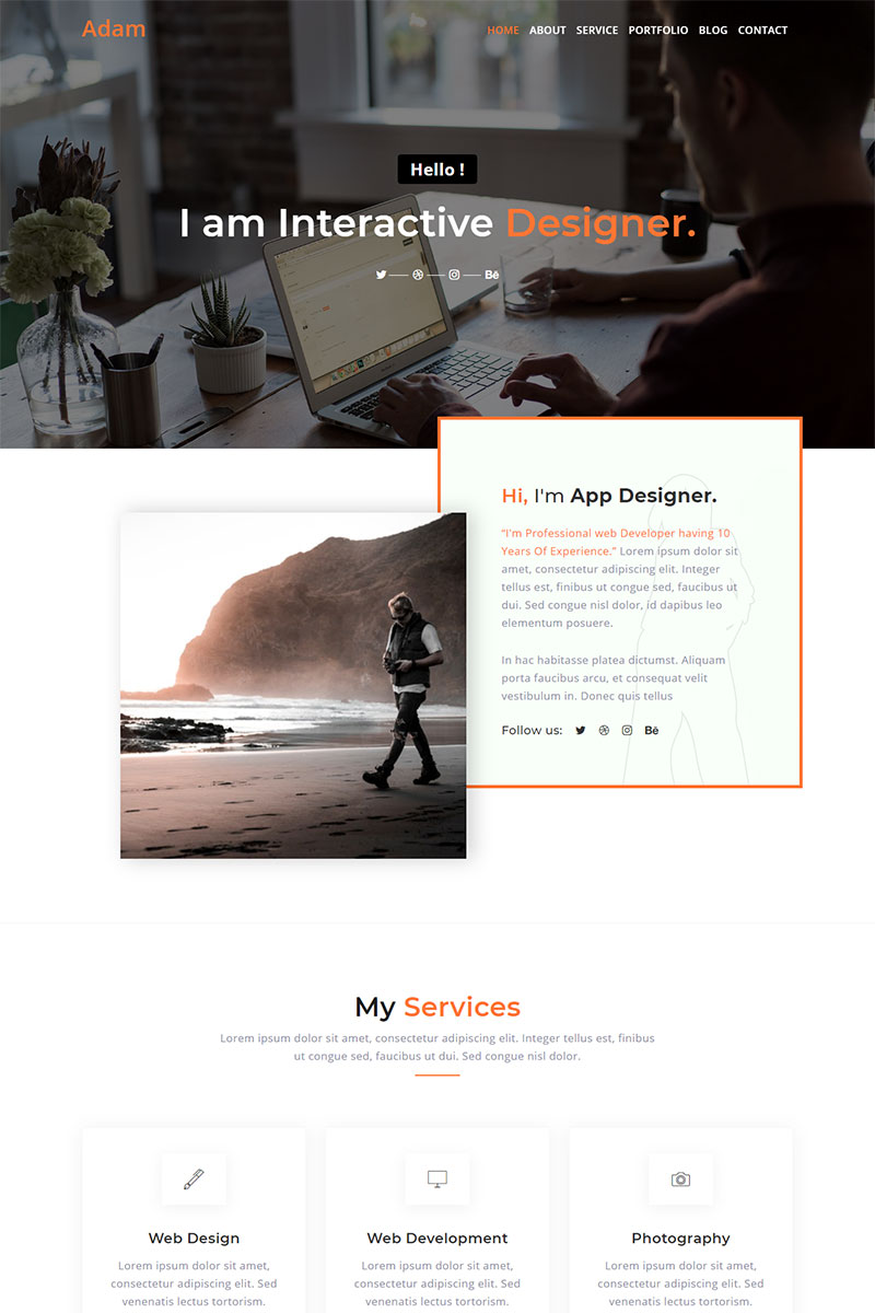 Responsivt Adam Personal Portfolio Landing Page-mall #91156
