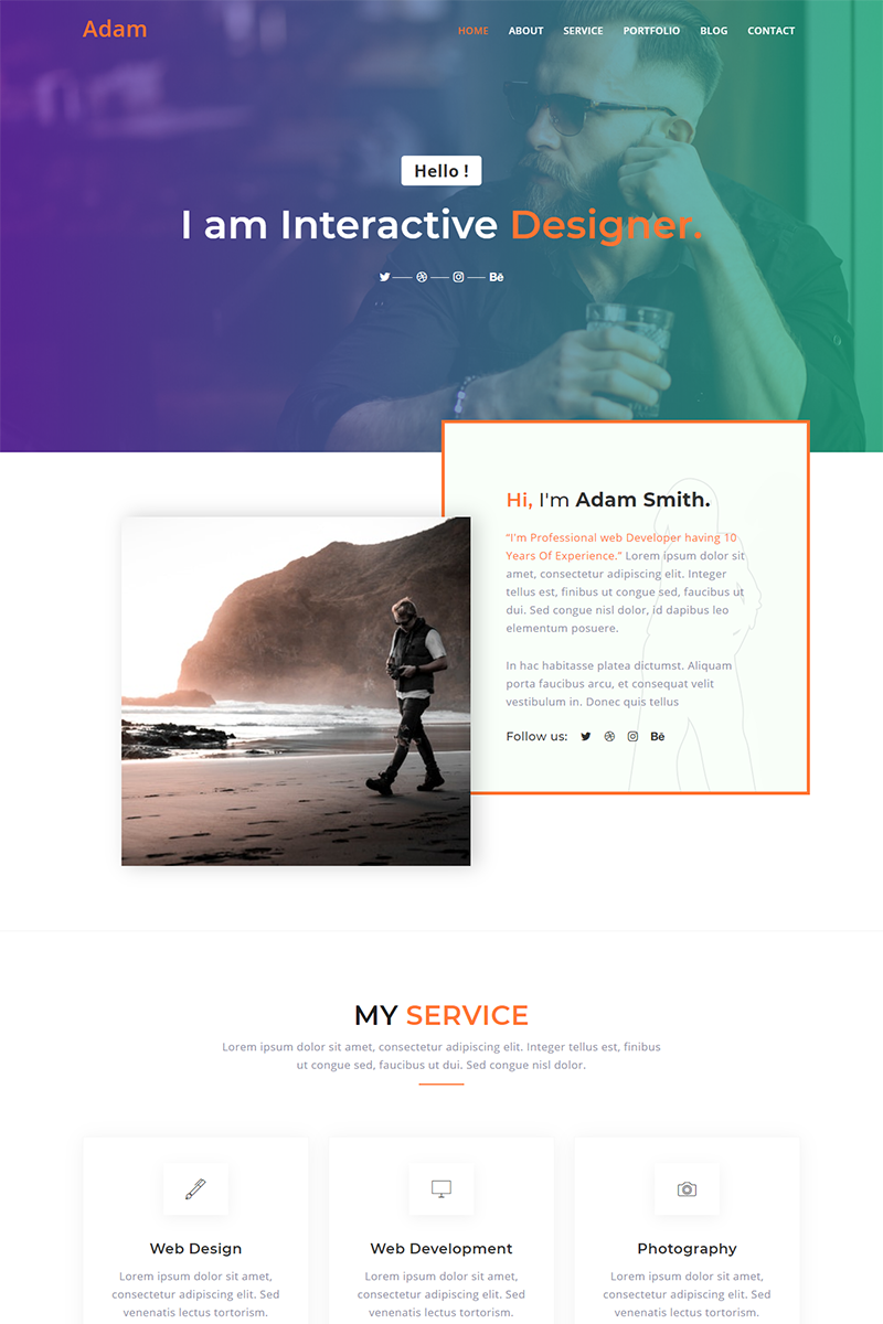 Reszponzív Adam Personal Portfolio Nyítóoldal sablon 91156 - képernyőkép