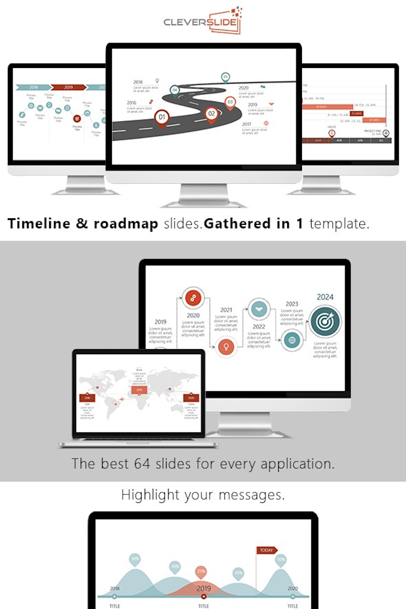 Timeline & Roadmap Slides PowerPoint sablon 91175