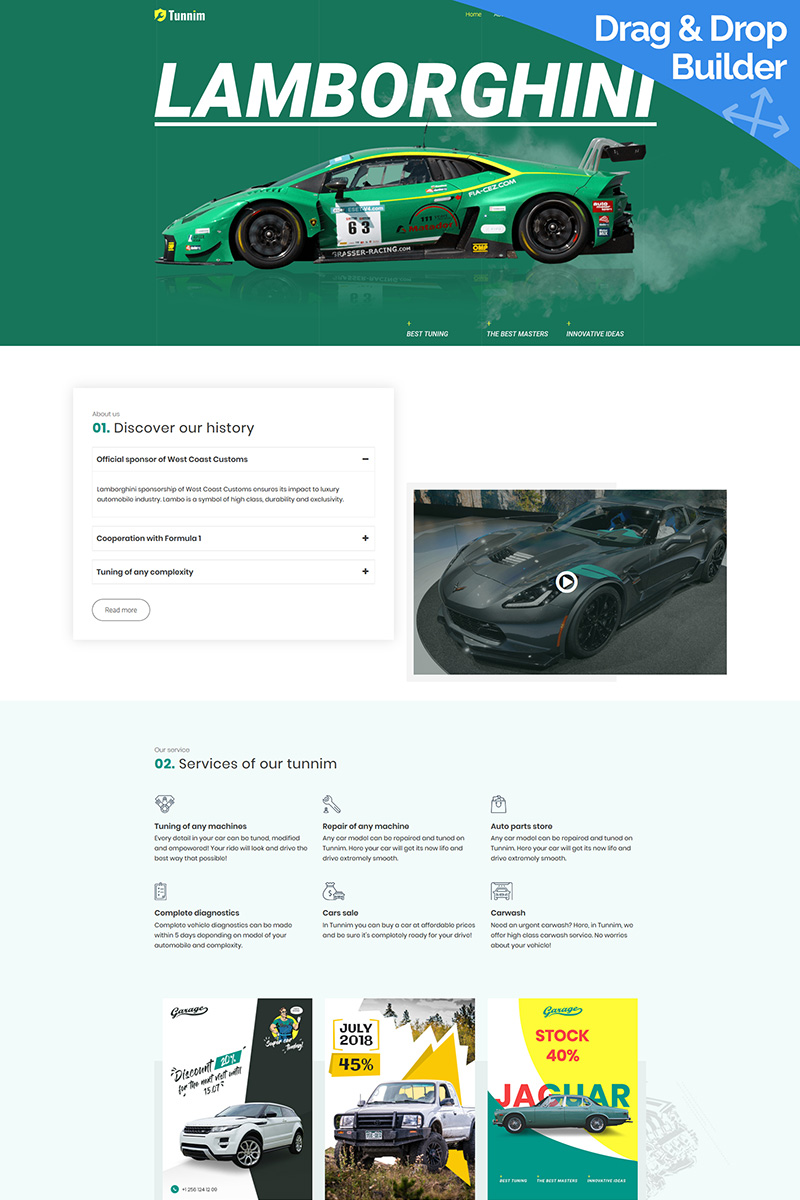 """Tunnim - Car Tuning"" Responsive Moto CMS 3 Template №91155"