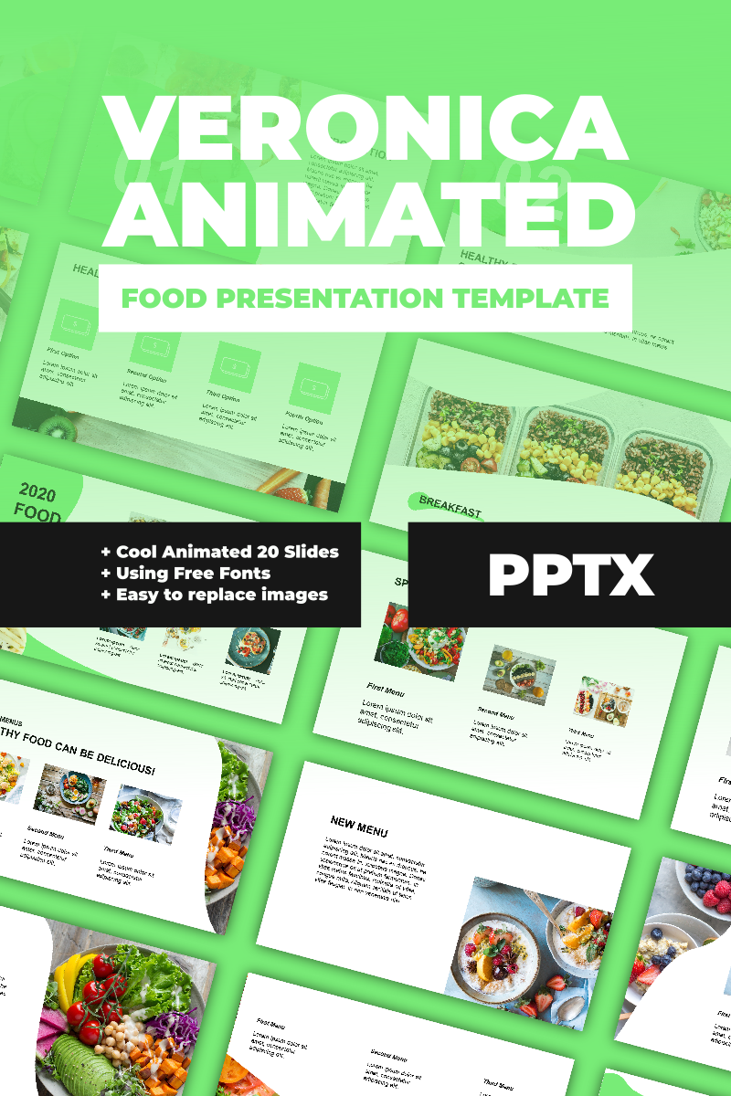 """Veronica Animated Food Presentation"" PowerPoint Template №91118"
