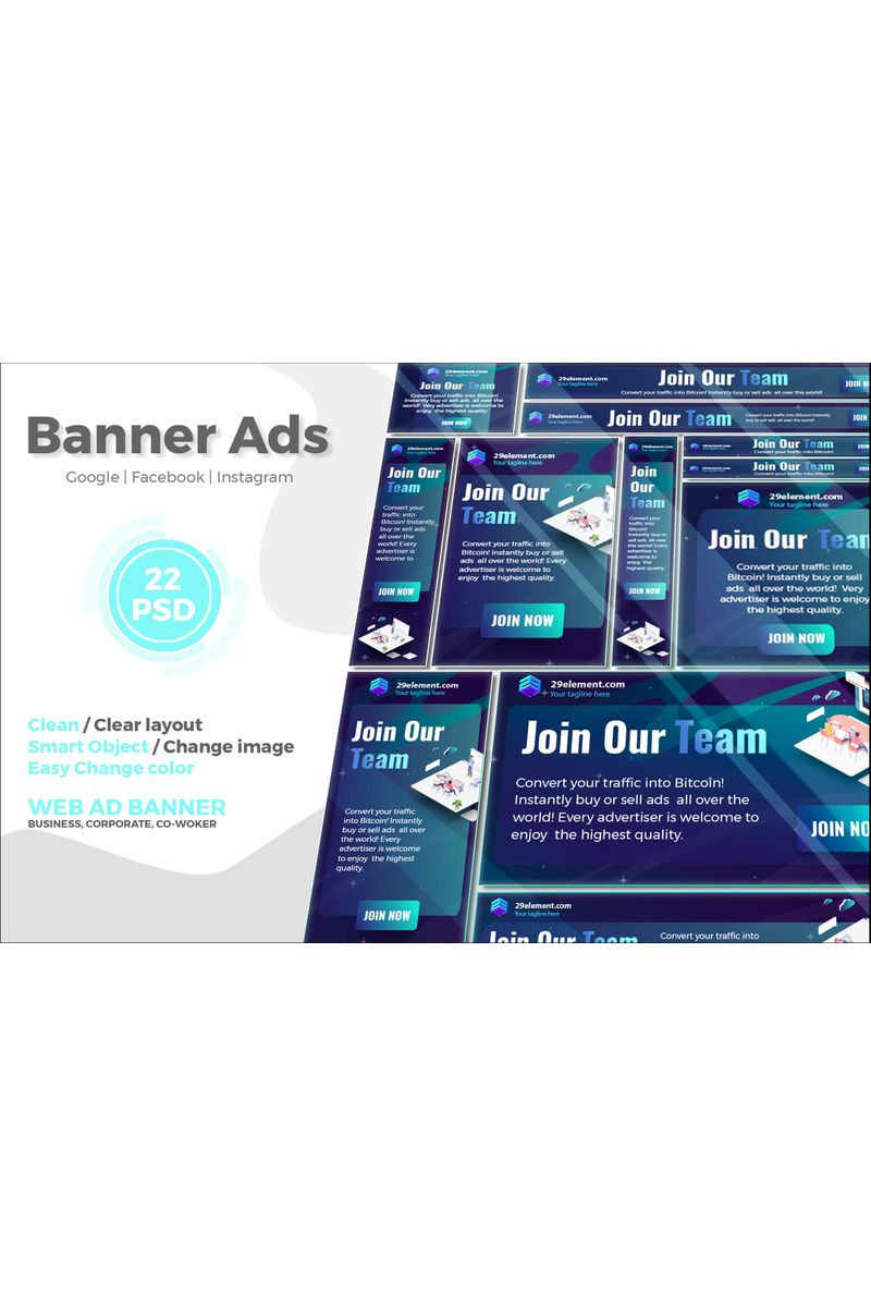 Blockchain Banner v.4 Mídia Social №91286