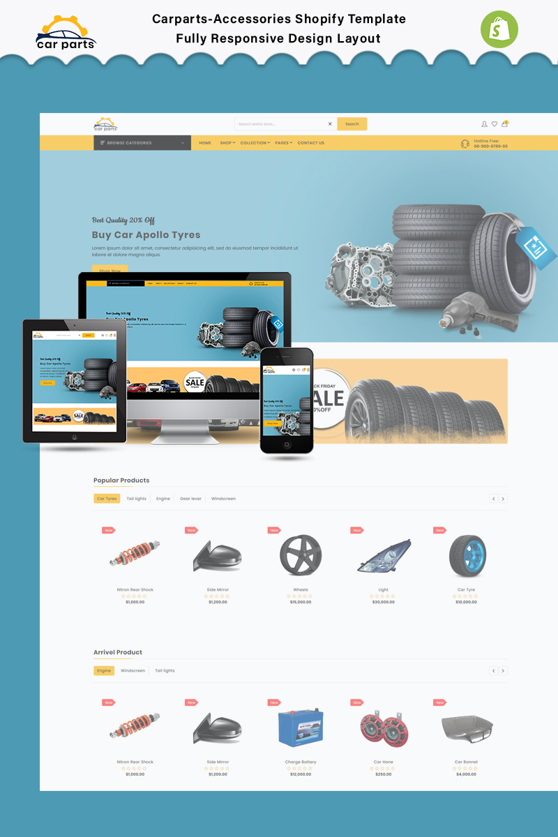 """Car parts - The Car parts & auto parts"" Responsive Shopify Thema №91276"
