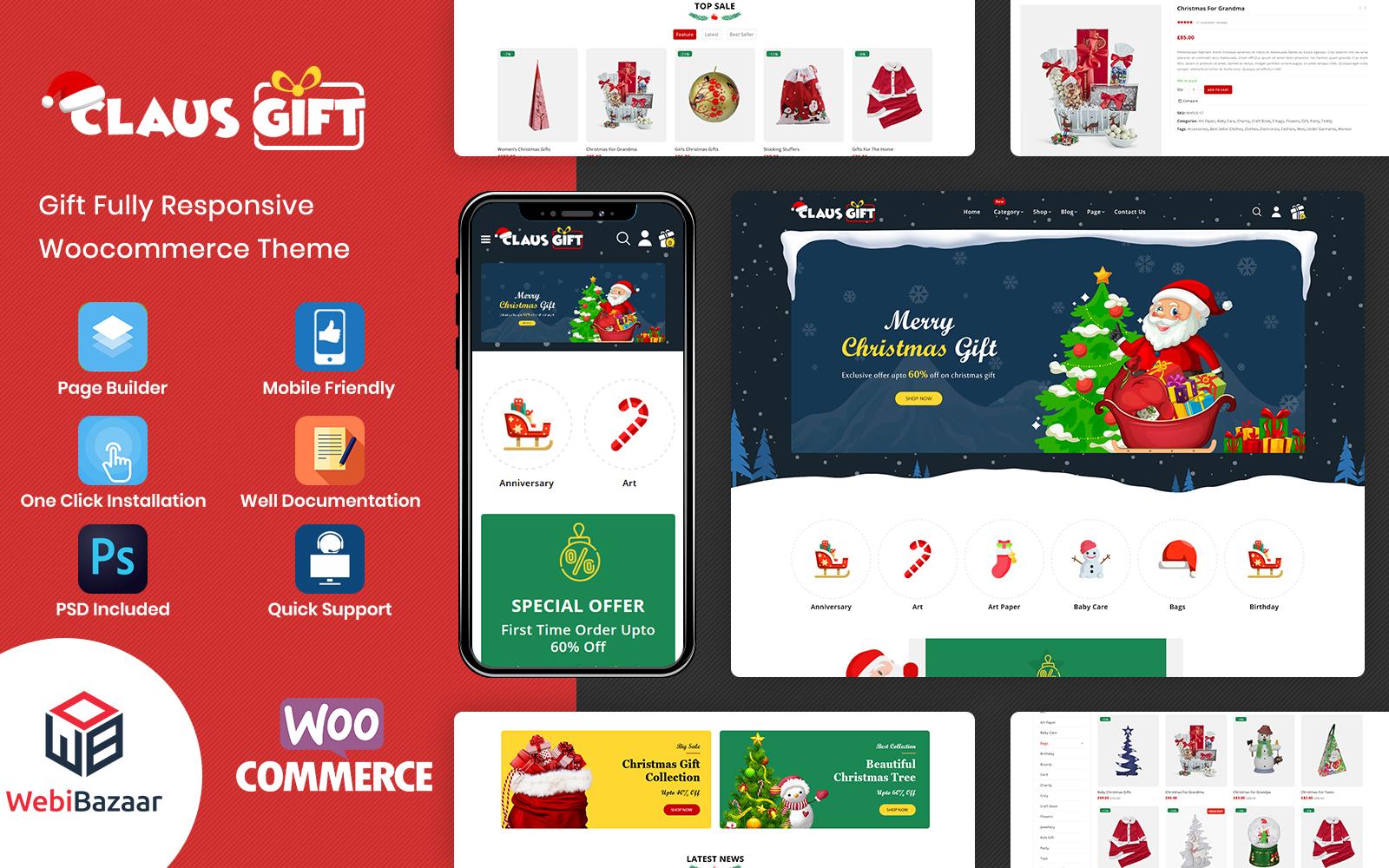 """""""Clausgift - Christmas Gift Responsive"""" - адаптивний WooCommerce шаблон №91275"""