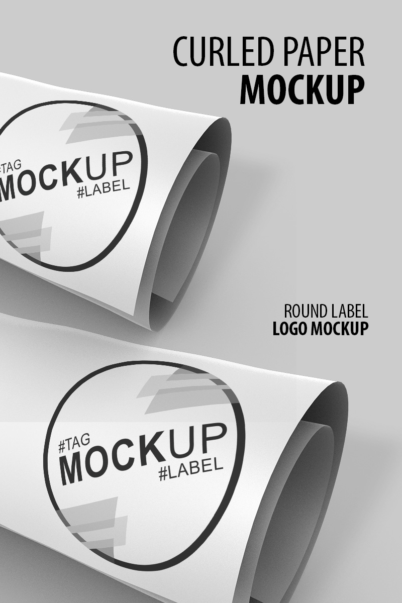 Curled paper logo and label Product Mockup