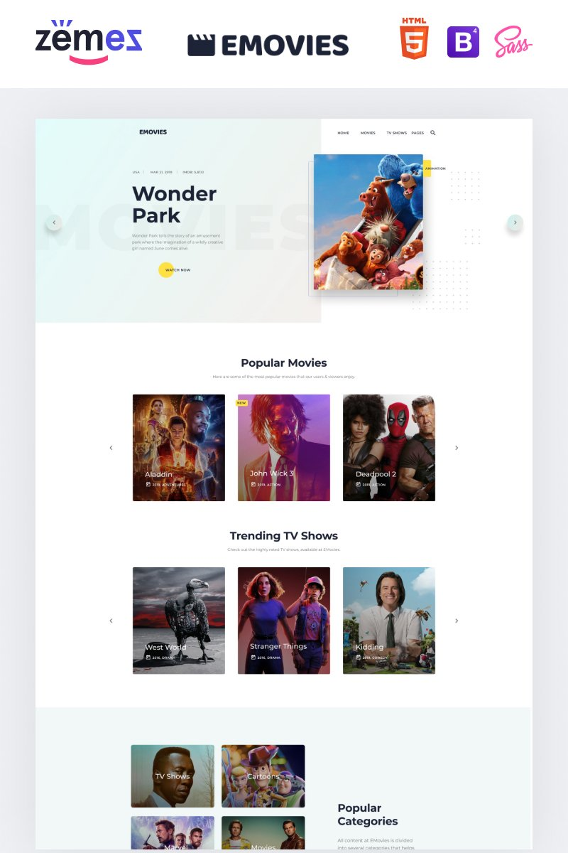 """EMovies - Movie Streaming"" Responsive Website template №91271"