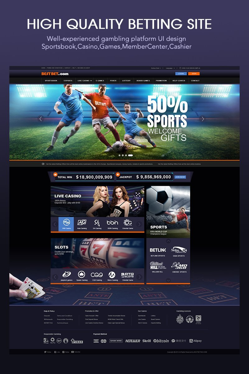 Full Gambling Site UI Design PSD Template