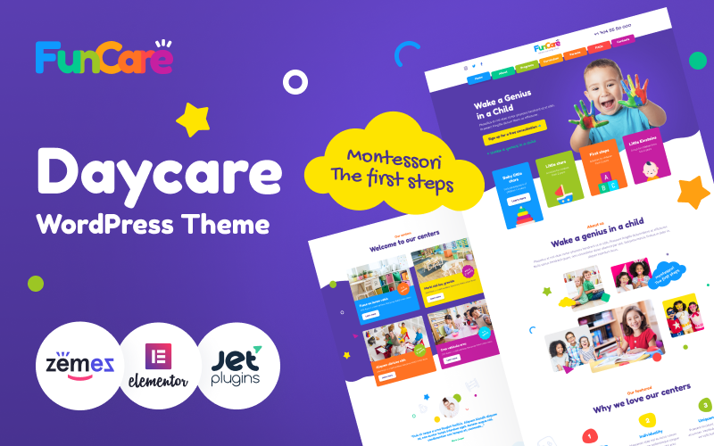 """FunCare - Bright And Enjoyable Daycare Website Design Theme"" 响应式WordPress模板 #91273"