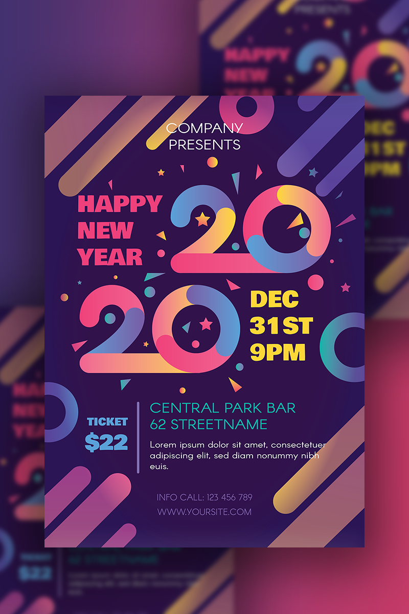 Happy 2020 New Year Poster PSD Template