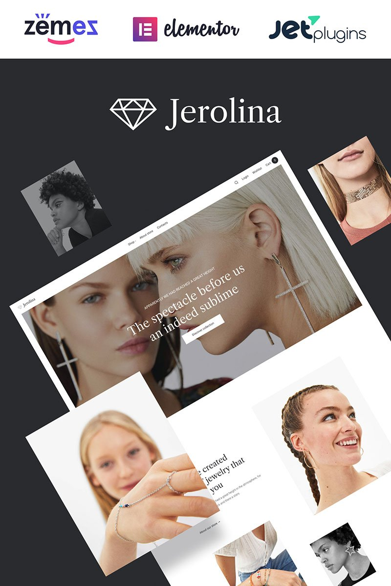 """Jerolina - Glossy Jewelry & Watches Online Store"" Responsive WooCommerce Thema №91270"
