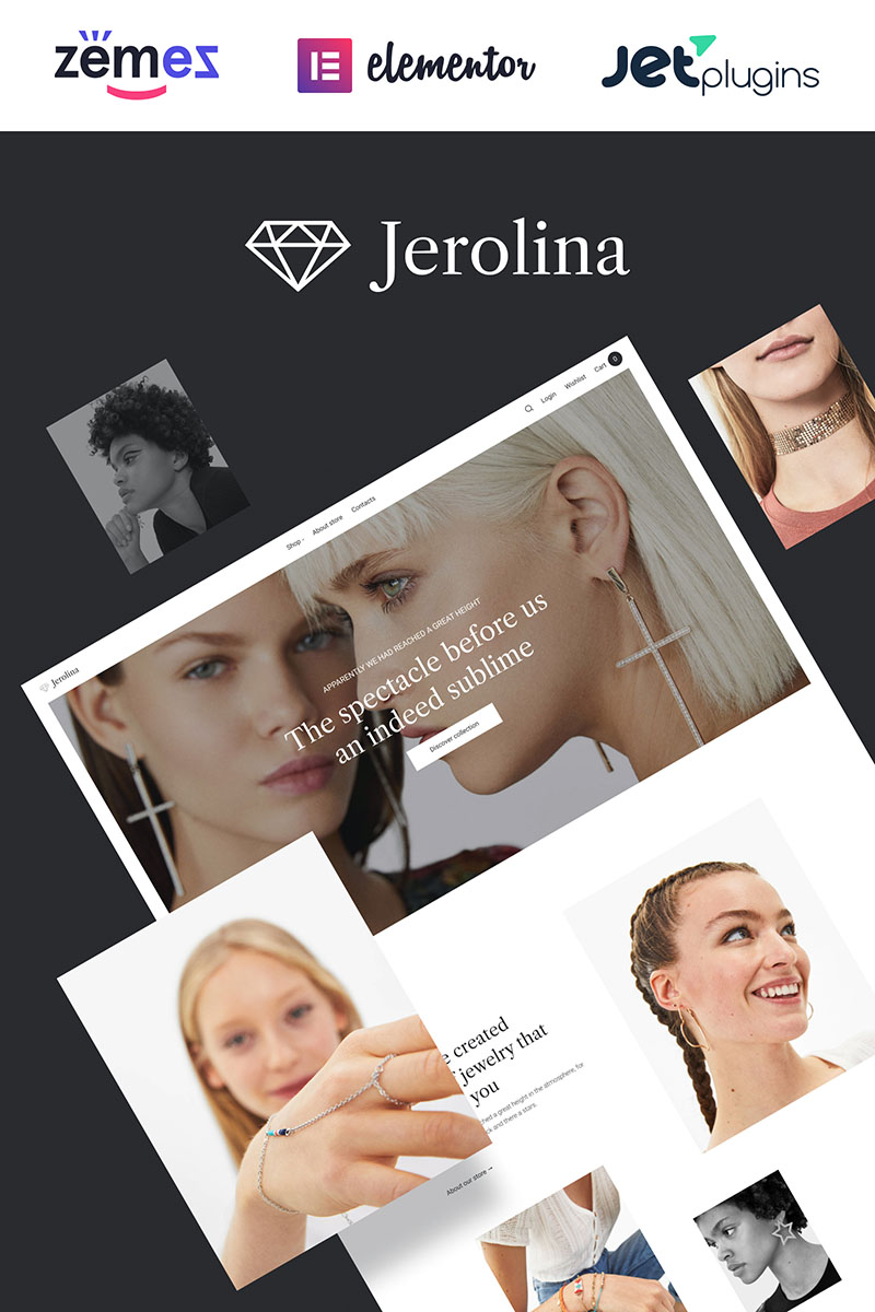 """""""Jerolina - Glossy Jewelry & Watches Online Store"""" 响应式WooCommerce模板 #91270"""