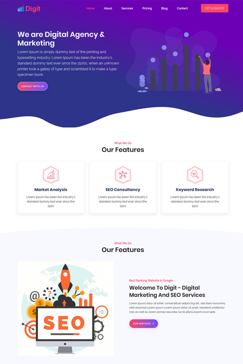 "Landing Page Template namens ""Digit"" #91214"
