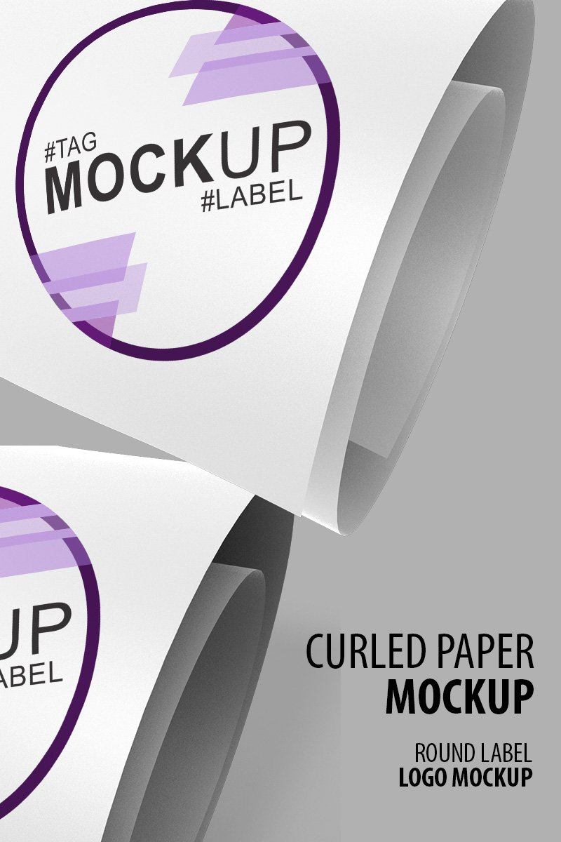 Logo or label on a curled paper Product Mockup