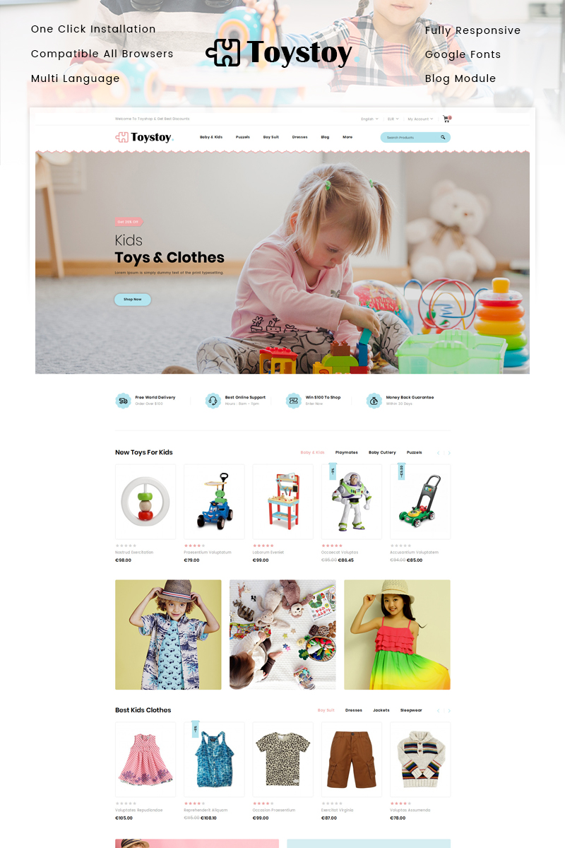 "PrestaShop Theme namens ""ToysToy - Kids Toy Store"" #91215"
