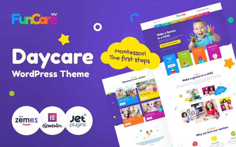 Responsywny motyw WordPress FunCare - Bright And Enjoyable Daycare Website Design Theme #91273