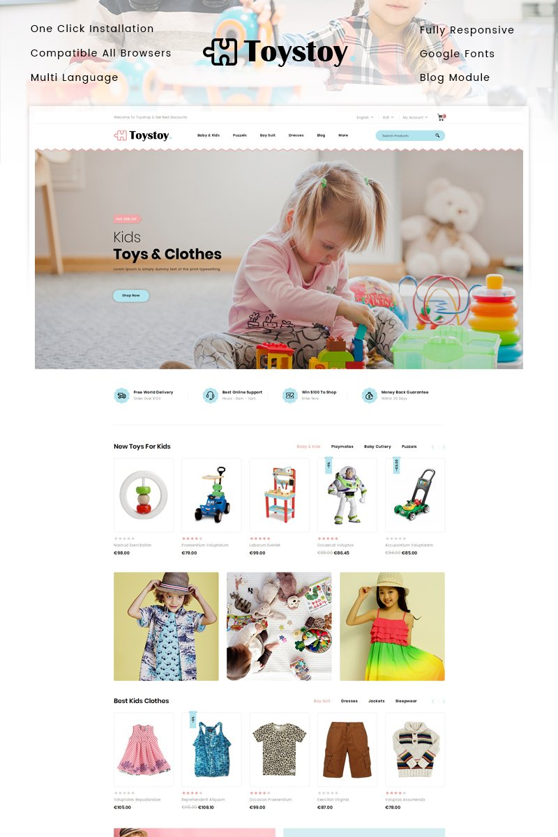 """Responzivní PrestaShop motiv """"ToysToy - Kids Toy Store"""" #91215"""