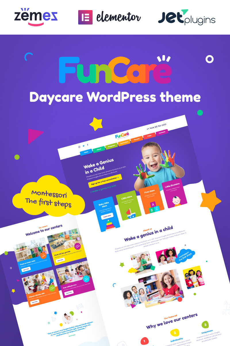 "Responzivní WordPress motiv ""FunCare - Bright And Enjoyable Daycare Website Design Theme"" #91273"