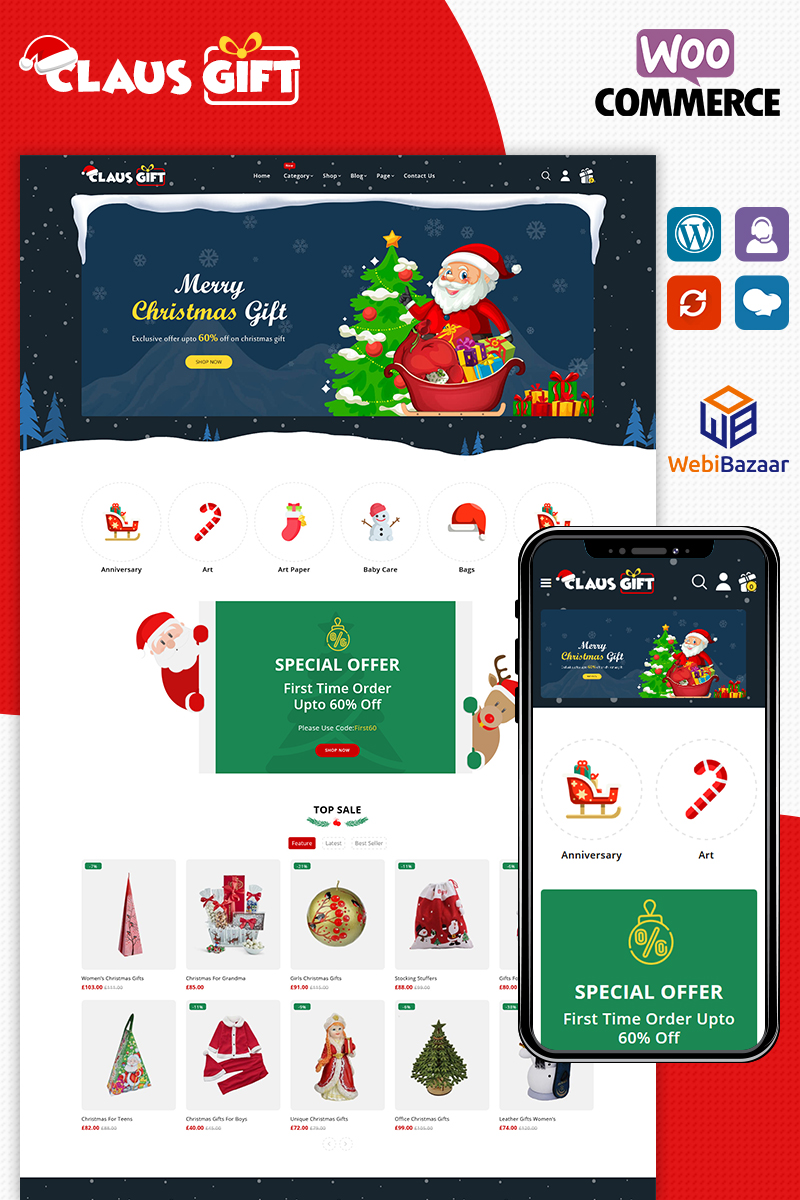 Reszponzív Clausgift Christmas Responsive WooCommerce sablon 91275