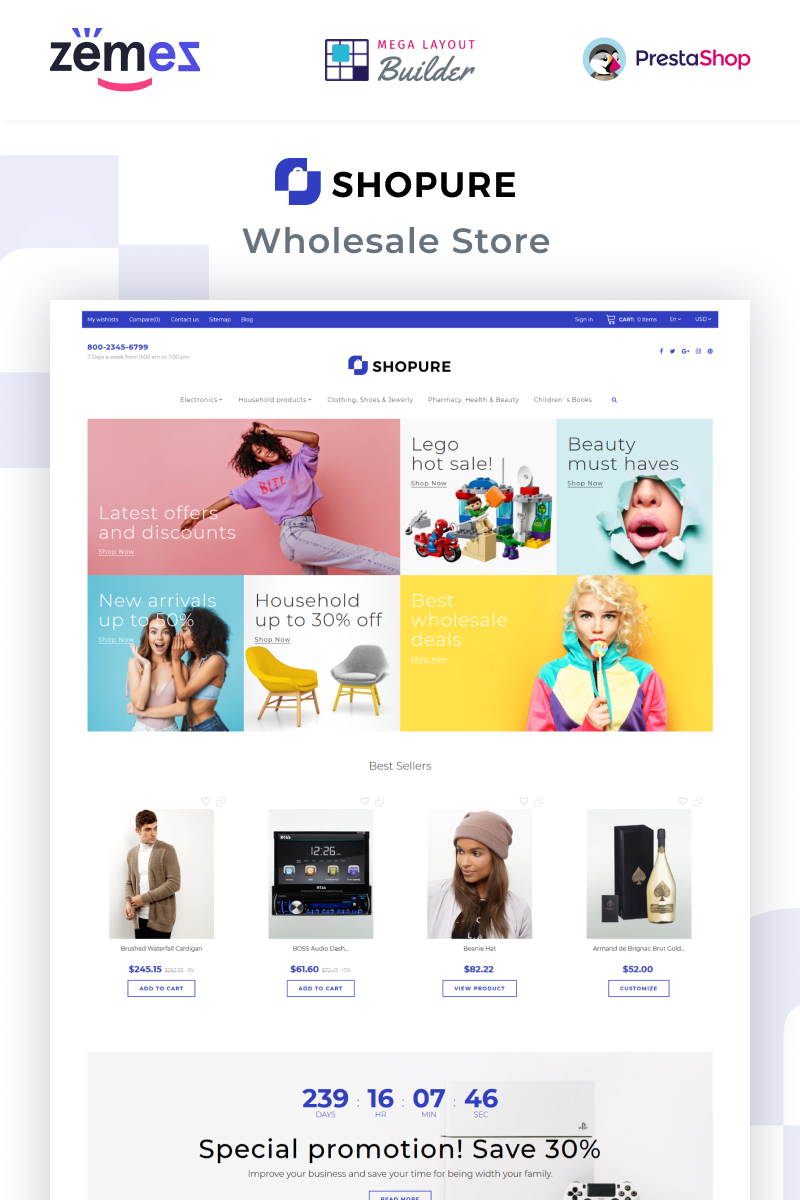 """Shopure - Wholesale Store"" thème PrestaShop adaptatif #91269"