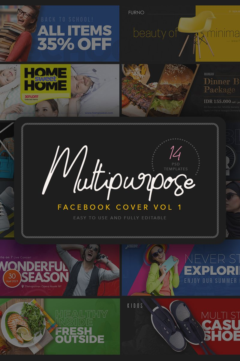 "Soziale Medien namens ""Multipurpose Facebook Cover Templates"" #91282"