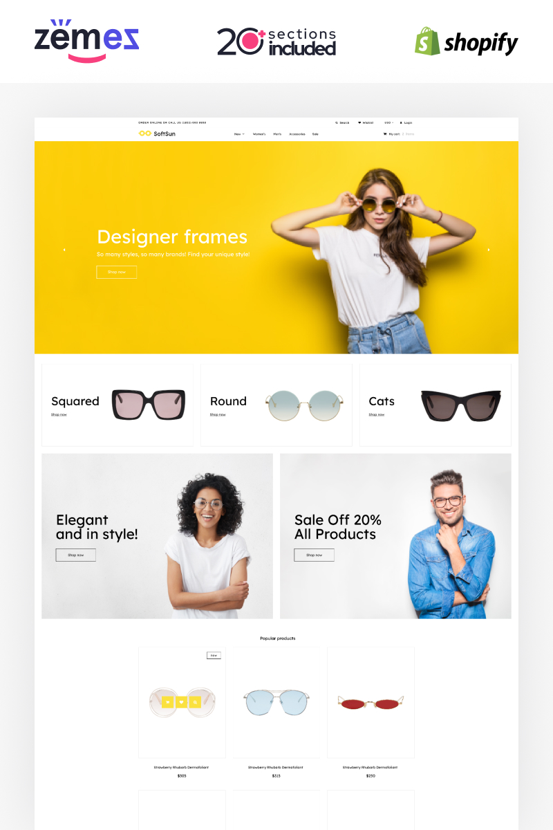Szablon Shopify Sunglasses Store Template #91207