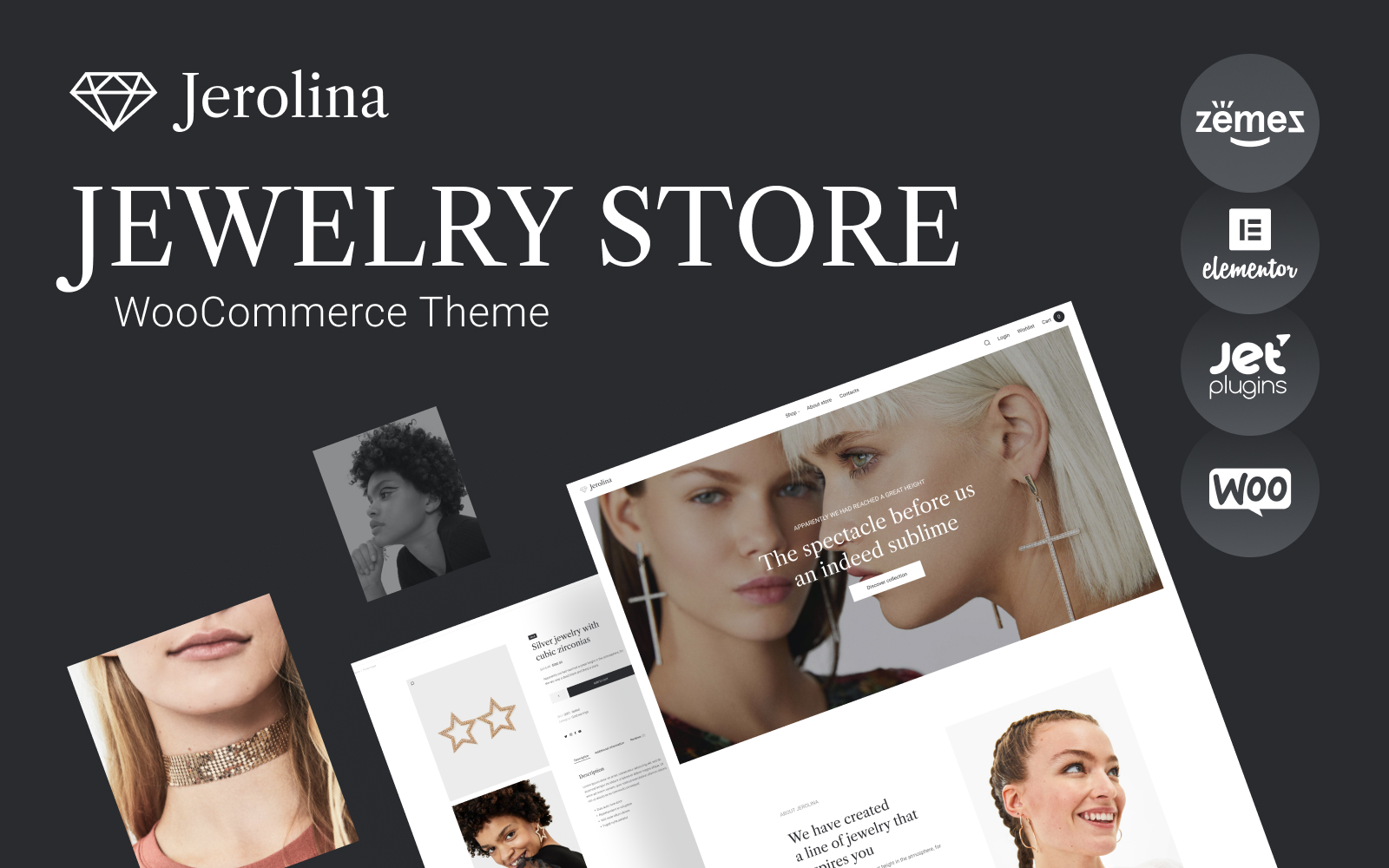 "Tema WooCommerce ""Jerolina - Glossy Jewelry & Watches Online Store"" #91270"