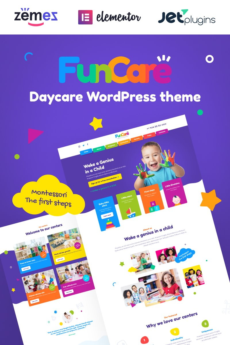 "Template WordPress Responsive #91273 ""FunCare - Bright And Enjoyable Daycare Website Design Theme"""