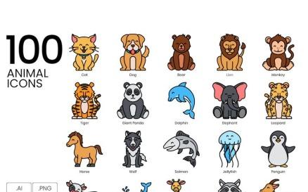 100 Animal Icons - Vivid Series Icon Set