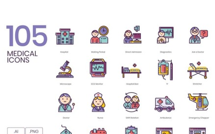 105 Medical Icons - Lilac Series Icon Set
