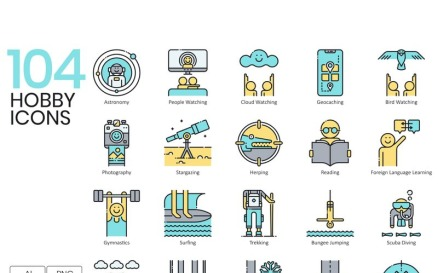 104 Hobby Icons - Aqua Series Icon Set