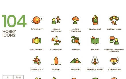 104 Hobby Icons - Eco Series Icon Set