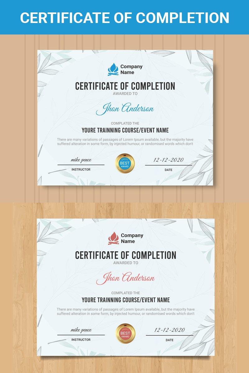 Flexible Professional Completion Certificate Template