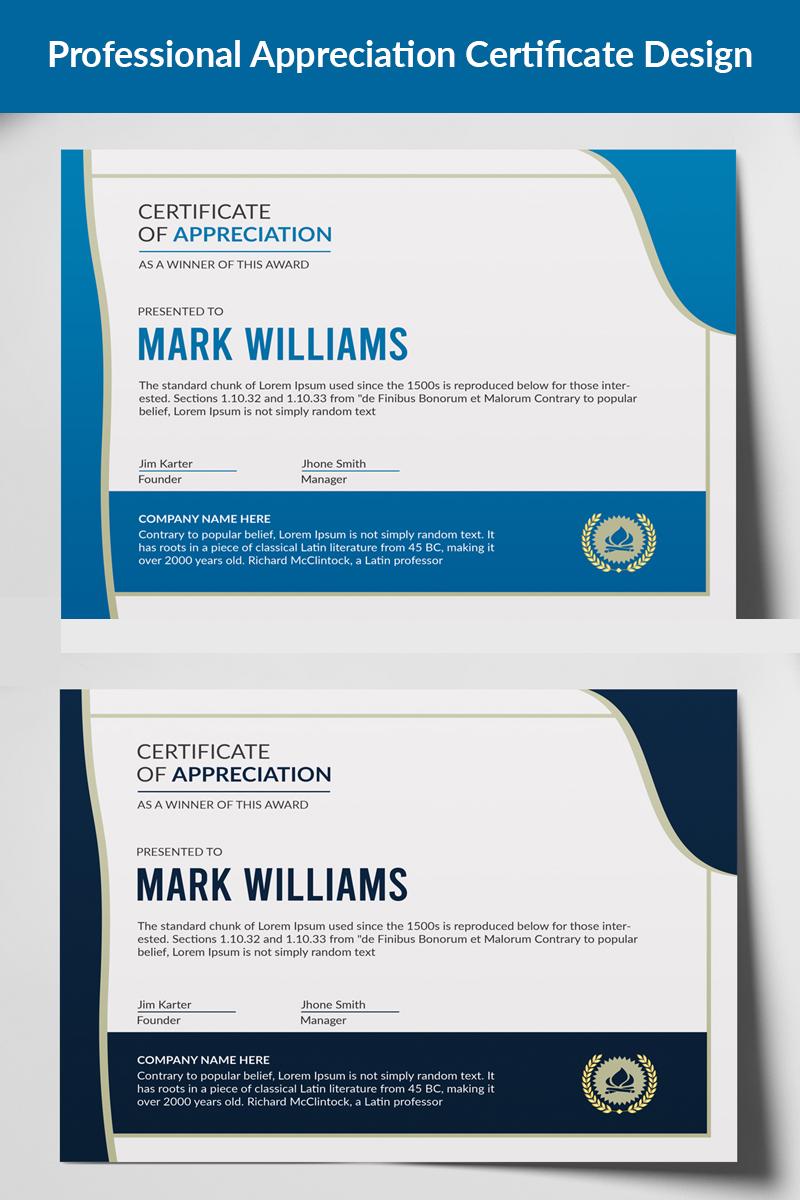 Professional Appreciation Design Certificate Template